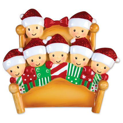 Personalized Christmas Ornaments Family Series- Bed Family of 6 / Personalized by Santa / 6 Family Christmas Ornament/Ornament Family of 6