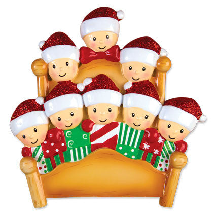 Personalized Christmas Ornaments Family Series- Bed Family of 4 / Personalized by Santa/Family Ornament/Family Christmas Ornament Grantwood Technology