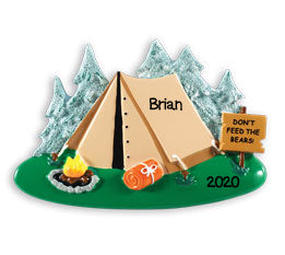 Personalized Christmas Ornaments Hobbies/Activities- Camping Tent/Personalized by Santa/Tent Ornament/Camping Ornament