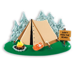 PERSONALIZED CHRISTMAS ORNAMENT HOBBIES/ACTIVITIES-CAMPING TENT