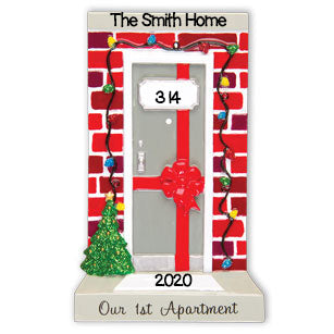 PERSONALIZED CHRISTMAS ORNAMENT NEW APARTMENT DOOR OUR 1ST APARTMENT / PERSONALIZED BY SANTA / PERSONALIZED FIRST APARTMENT ORNAMENTS / PERSONALIZED 1ST APARTMENT ORNAMENTS