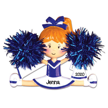 Personalized Christmas Ornaments Cheerleader Blue / Personalized by Santa/Cheerleader Ornament/Cheerleader Ornaments Christmas