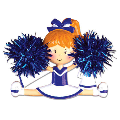 PERSONALIZED CHRISTMAS ORNAMENT SPORTS-BLUE CHEERLEADER