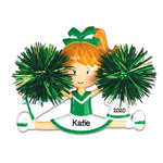 Personalized Christmas Ornaments Sports- Cheerleader Green / Personalized by Santa/Cheerleader Ornament