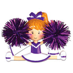 Personalized Christmas Ornaments Sports- Cheerleader Purple/ Personalized by Santa/Personalized Cheerleader Christmas Ornaments