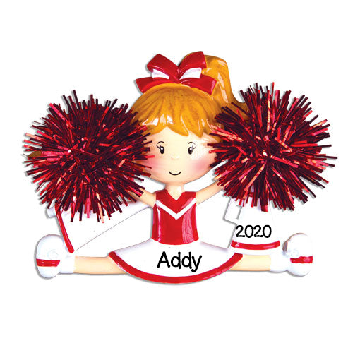 Personalized Christmas Ornaments Sports- Cheerleader RED / Personalized by Santa/Cheerleader Ornament/RED Cheerleading Ornament