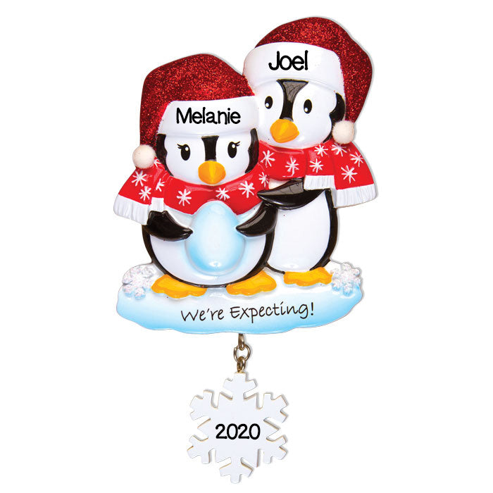 Personalized Christmas Ornaments Baby's First- We're Expecting Penguins/Personalized by Santa/Baby ON The Way Christmas Ornaments