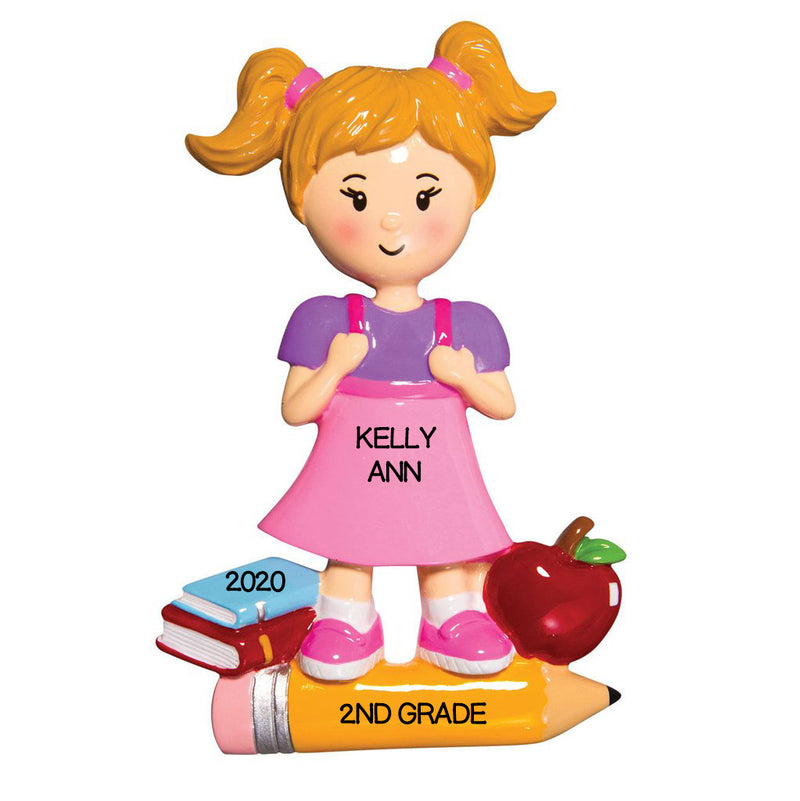 Personalized Christmas Ornaments First Day of School Girl, Customized First Day of School Ornament, Girls School Ornament