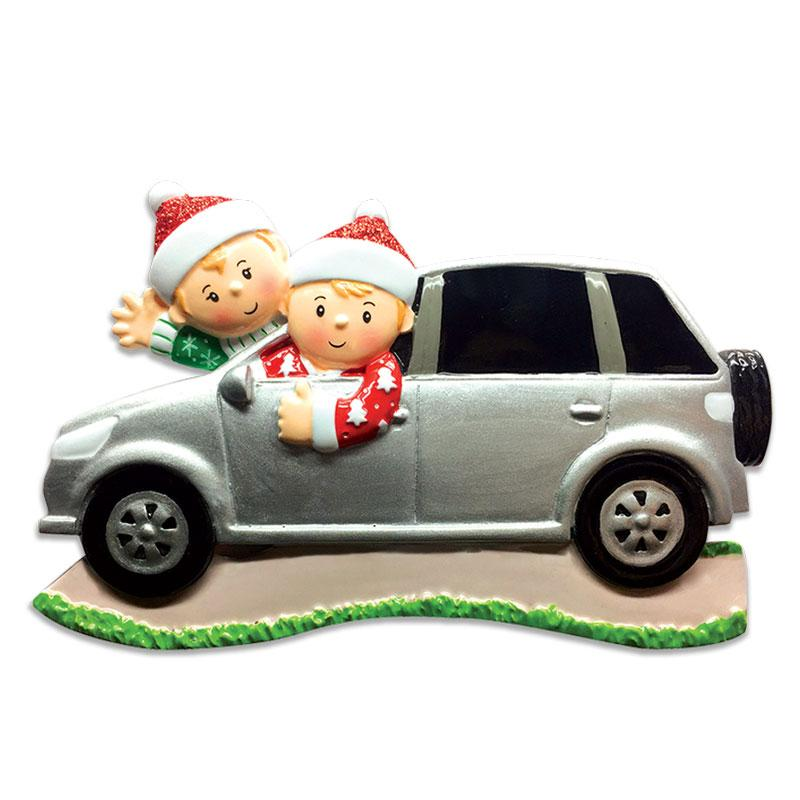 PERSONALIZED CHRISTMAS ORNAMENTS FAMILY SUV FAMILY OF 2, SUV FAMILY CHRISTMAS ORNAMENT, FAMILY OF 2 IN CAR ORNAMENT, FAMILY TRAVEL CHRISTMAS ORNAMENT, PERSONALIZED FAMILY CHRISTMAS ORNAMENT 2