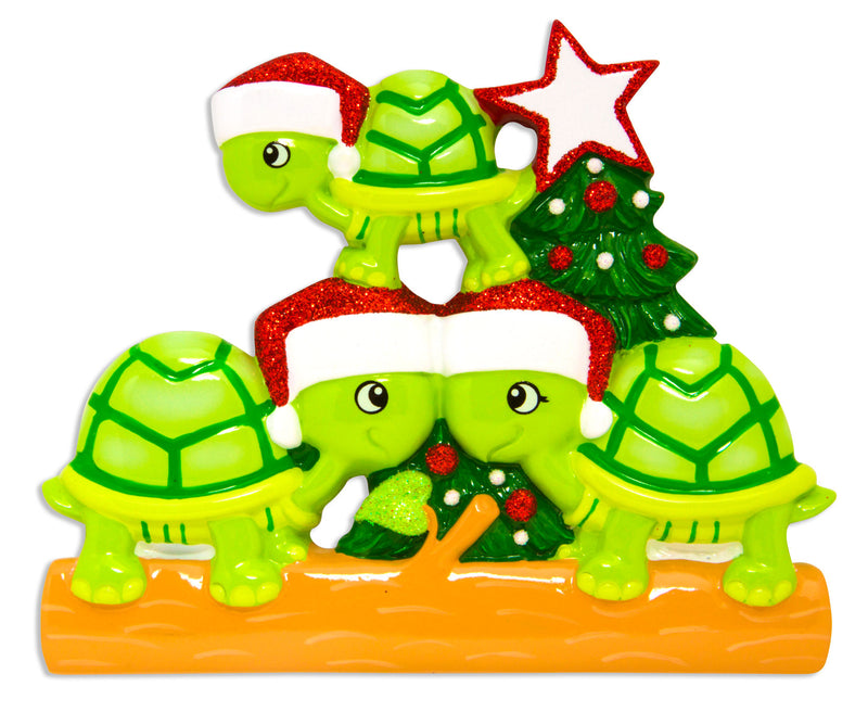 Grantwood Technology Personalized Christmas Ornament Family Holiday- Turtle Family of 3 / Family of 3 Christmas Ornaments/Personalized by Santa