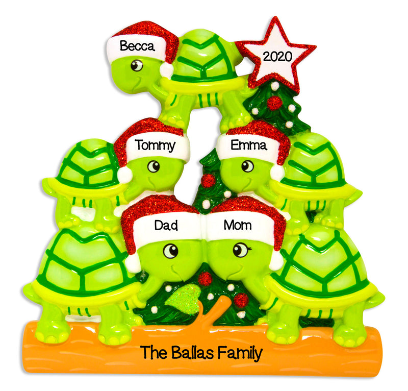 Personalized Christmas Ornament Family Holiday- Turtle Family of 5, Family of 5 Christmas Ornaments, Turtle Ornaments 5, Personalized by Santa
