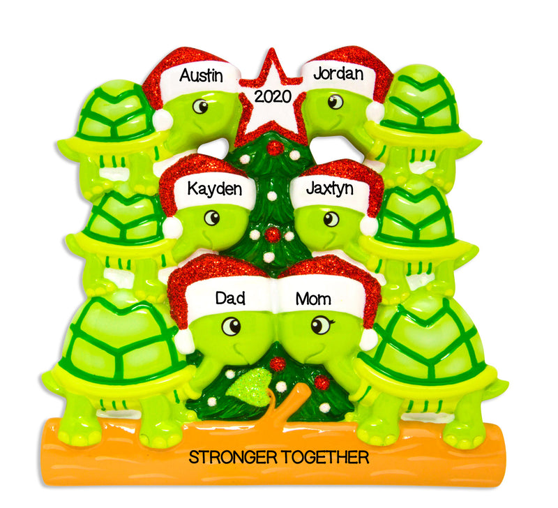 Grantwood Technology Personalized Christmas Ornament Family Holiday- Turtle Family of 6 / Family of 6 Christmas Ornaments/Turtle Christmas Ornaments/Personalized by Santa