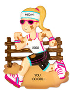 PERSONALIZED CHRISTMAS ORNAMENT HOBBIES ATHLETE OBSTACLE COURSE RUNNER MARATHON- FEMALE RUNNER / PERSONALIZED RUNNER TOUGH MUDDER CHRISTMAS ORNAMENT / WARRIOR DASH ORNAMENT / PERSONALIZED BY SANTA