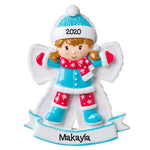 Grantwood Technology Personalized Christmas Ornament Child- Snow Angel Girl/Personalized Snow Angel Girl Ornaments/Cute Girl Ornaments/Girl in Snow Ornament/Customized Girl Making Snow Angel Ornament