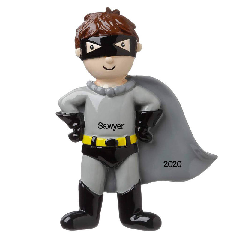 Personalized Christmas Ornament Child- Super Hero- Grey and Black/Personalized Batman Christmas Ornament/Customized Superhero Ornament/BOY Hero Ornament