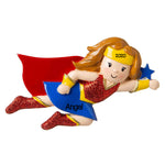 Grantwood Technology Personalized Christmas Ornament Child- Girl Super Hero/Personalized Supergirl Christmas Ornaments/Customized Girl Superhero Ornament/Wonder Woman Ornament
