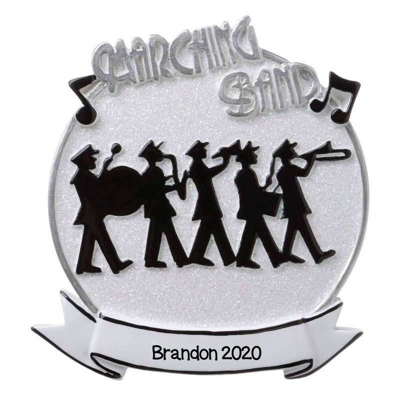 Personalized Christmas Ornament White Marching Band Ornament