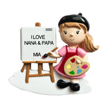 Personalized Christmas Ornament Child- Girl Artist/Artist Ornament/Paint Ornaments/Girl Artist Ornament