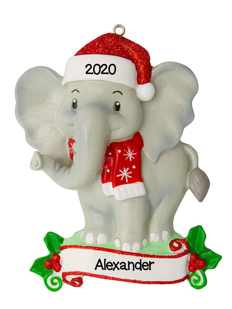 Personalized Christmas Ornament-Hand Made ELEPHANT Zoo Animals-Elephant/Personalized by Santa/Elephant Ornament/Child Baby's First/Elephant