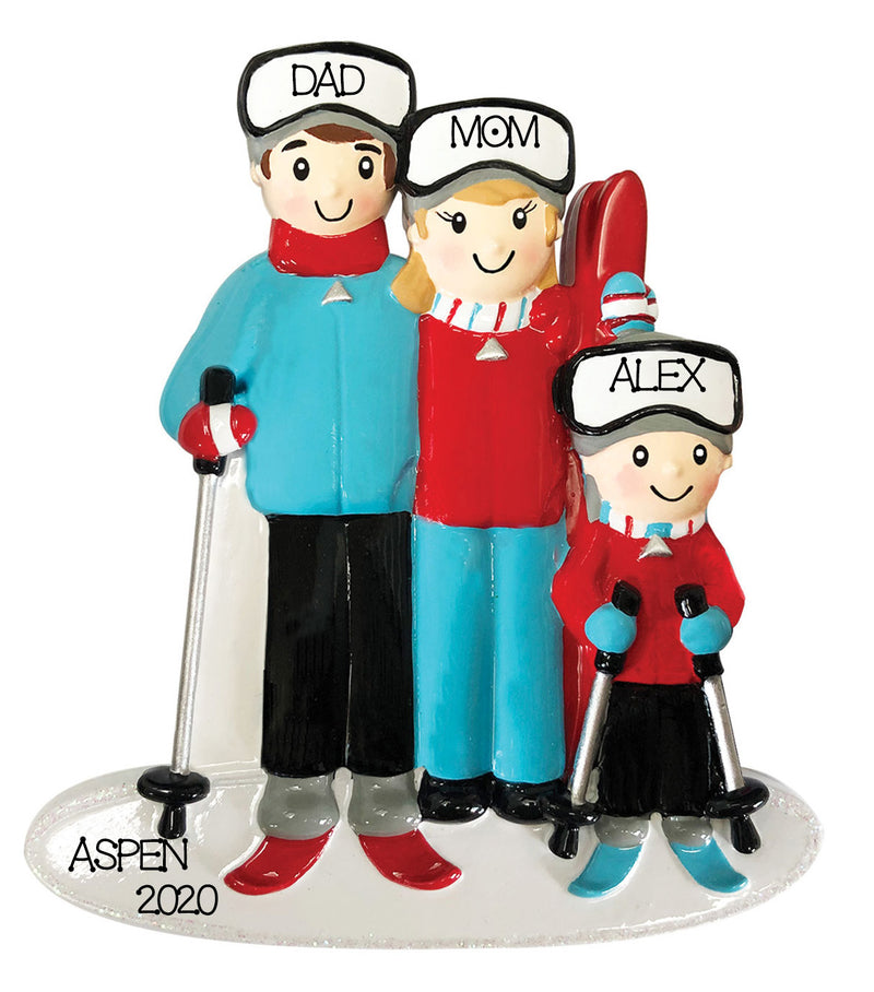 Personalized Christmas Ornament Ski Family of 3/Personalized Ski Family of 3 Ornament/Personalized Ski Resort Ornament/Family of 3 Christmas Ornament