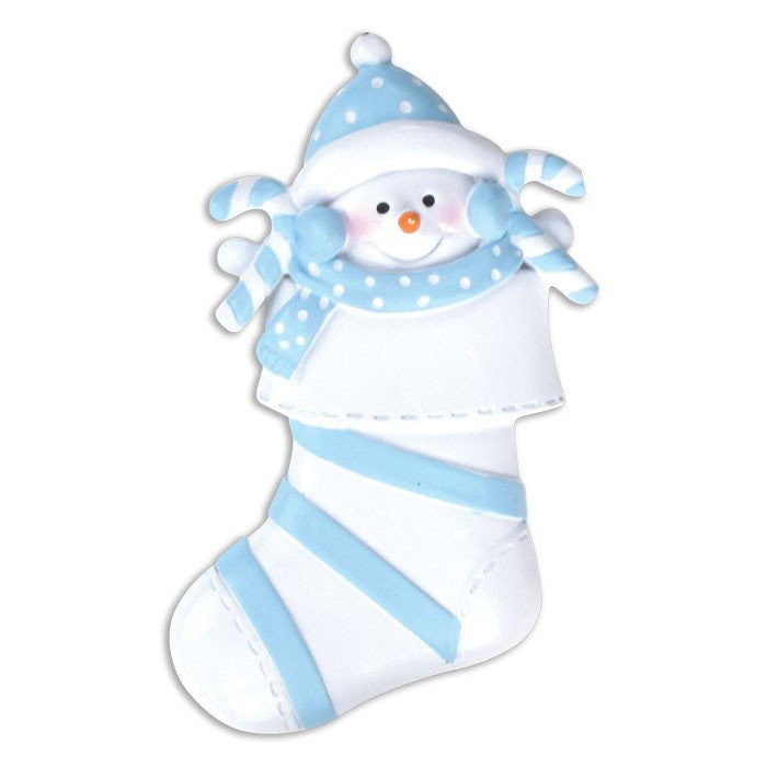 SNOW BABY IN BLUE STOCKING
