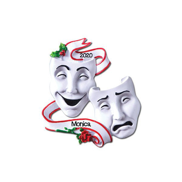 Grantwood Technology Personalized Christmas Ornament Drama Theatre Masks Comedy TRADGEDY/Personalized by Santa/Theatre Ornament/Drama Ornament/Theatre Christmas Ornament