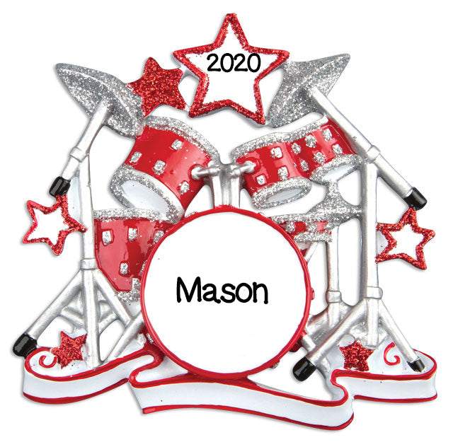 Personalized Christmas Ornaments Hobbies/Activities-Drum Set/Personalized by Santa/Drum Ornament/Drum Ornament Set/Drums Ornament