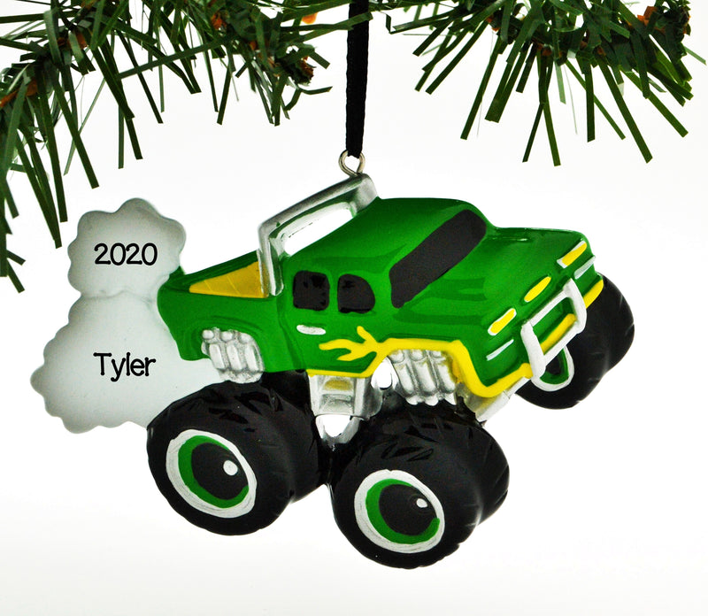 Personalized Christmas Ornament Power Wheels Monster Machines Rally Monster Truck Green/Personalized by Santa/Monster Truck Ornament/Truck Ornament