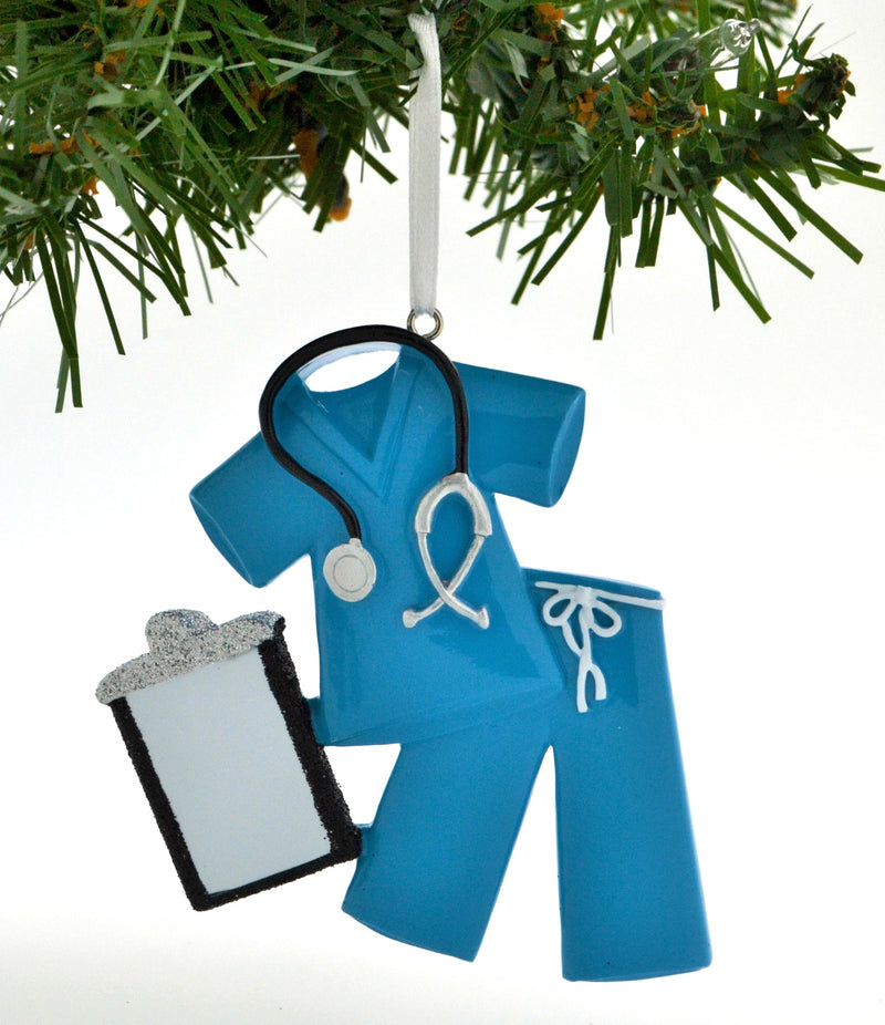 Personalized Christmas Ornament Scrubs Doctor Nurse Blue/Personalized by Santa/Personalized Nurses Christmas Ornaments/Personalized Doctor Christmas Ornaments