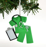 Personalized Christmas Ornament Scrubs Doctor Nurse Green/Personalized by Santa/Personalized Christmas Ornament Doctor/Personalized Christmas Ornament Nurse