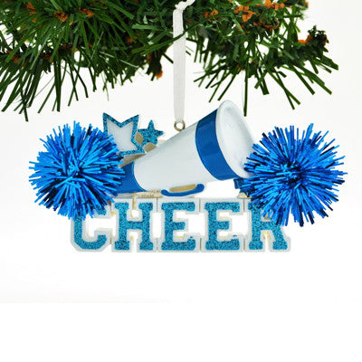 Personalized Christmas Ornament Cheerleader Blue Cheer/Personalized by Santa/Cheerleader Christmas Ornament/Blue Cheerleader Christmas Ornament