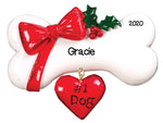 Personalized Christmas Ornaments Pets-Dog Bone W/Bow/Personalized by Santa/Dog Bone Ornament/Dog Ornaments/Dog Christmas Ornaments