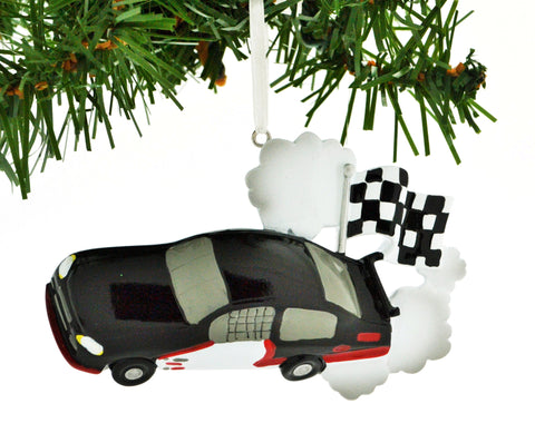 PERSONALIZED CHRISTMAS ORNAMENT SPORTS-RACE CAR CHECKERED FLAG BLACK CAR