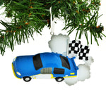 Personalized Christmas Ornament Race CAR Checkered Flag Blue CAR/Blue NASCAR Christmas Ornament/Race CAR Christmas Ornament/Personalized by Santa