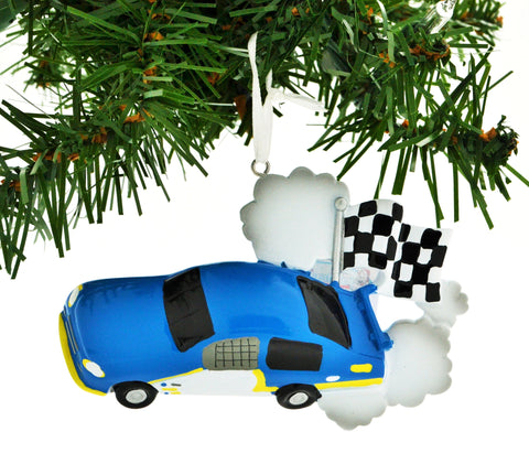 PERSONALIZED CHRISTMAS ORNAMENT SPORTS-RACE CAR CHECKERED FLAG BLUE CAR