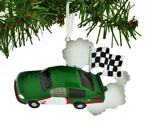 PERSONALILZED CHRISTMAS ORNAMENT RACE CAR CHECKERED FLAG GREEN CAR, NASCAR GREEN CHRISTMAS ORNAMENT, RACE CAR CHRISTMAS ORNAMENT, PERSONALIZED RACE CAR CHRISTMAS ORNAMENT, KIDS RACE CAR ORNAMENT…