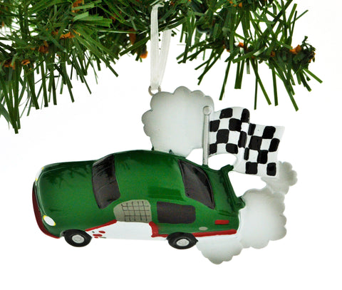 PERSONALIZED CHRISTMAS ORNAMENT SPORTS-RACE CAR CHECKERED FLAG GREEN CAR