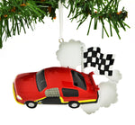 PERSONALILZED Christmas Ornament Race CAR Checkered Flag RED CAR/RED NASCAR Christmas Ornament/Race CAR Christmas Ornament/Personalized by Santa