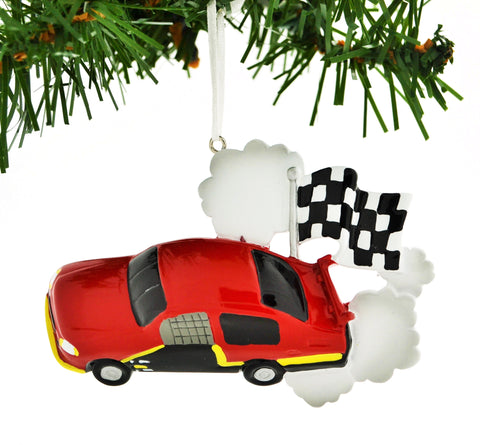 PERSONALIZED CHRISTMAS ORNAMENT SPORTS-RACE CAR CHECKERED FLAG RED CAR