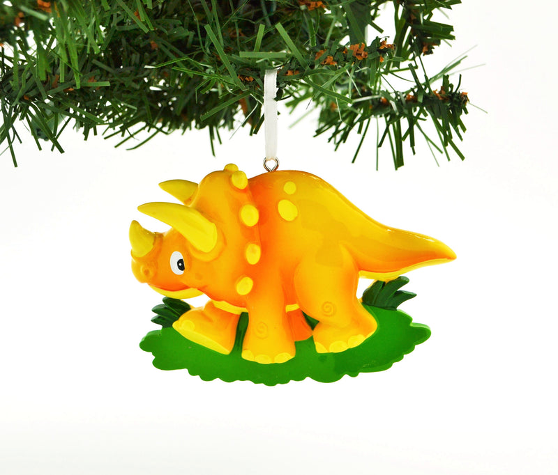 Personalized Christmas Ornament Orange Triceratops Dinosaur/Personalized by Santa/Dinosaur Ornament/Dinosaur Christmas Ornaments
