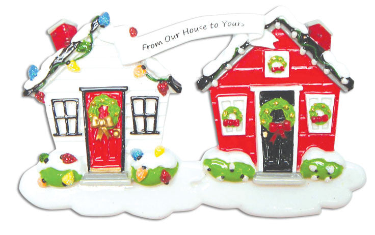 Personalized Christmas Ornaments Home-New from Our House to Yours/Personalized by Santa/Personalized Neighbor Ornaments/Neighbor Christmas Ornament