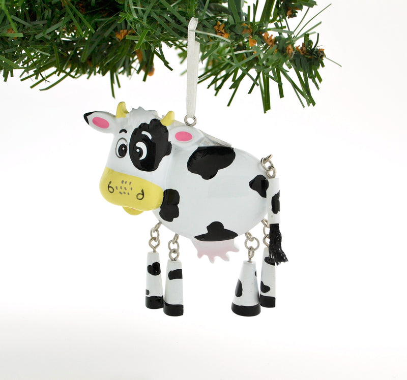 PERSONALIZED CHRISTMAS ORNAMENT CUTE COW WITH DANGLE LEGS / PERSONALIZED BY SANTA / PERSONALIZED CHILDREN'S ORNAMENTS / COW CHRISTMAS ORNAMENTS