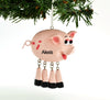 Personalized Christmas Ornament Cute Pig Piggy with Dangle Legs/Personalized by Santa/Pig Ornament/Pig Christmas Ornament