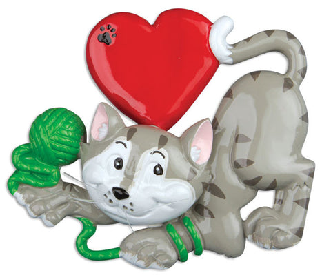 PERSONALIZED CHRISTMAS ORNAMENT PETS-CAT LOVER-GRAY