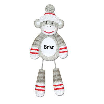Personalized Christmas Ornaments Child-Sock Monkey/Monkey Ornament/Sock Monkey Ornament/Ornament Monkey