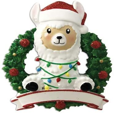 Personalized Christmas Ornament Llama in Christmas Wreath