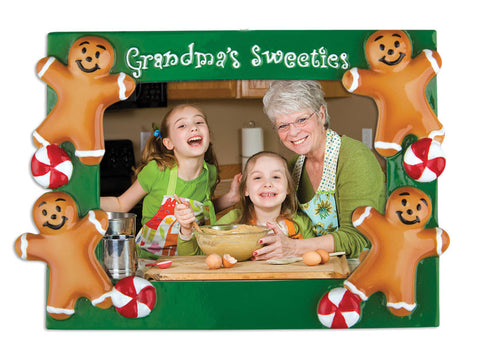 PERSONALIZED CHRISTMAS ORNAMENT PICTURE FRAME-GRANDMA'S SWEETEST FRAME
