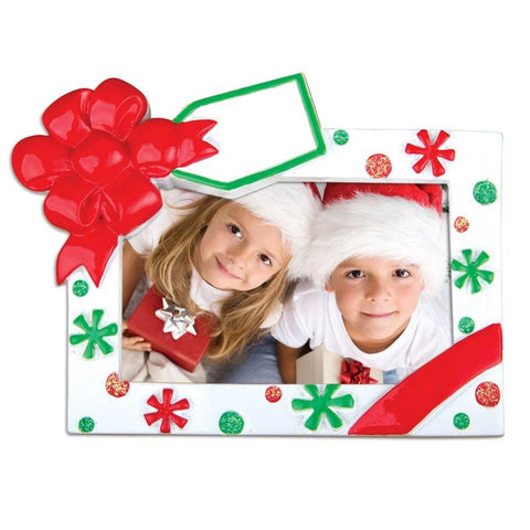 PERSONALIZED CHRISTMAS ORNAMENT PICTURE FRAME-CHRISTMAS FRAME-RED/GREEN