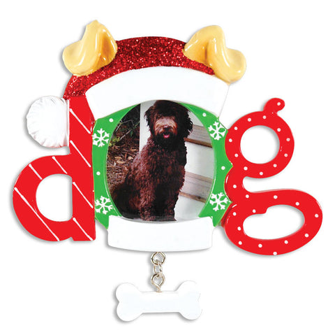 PERSONALIZED CHRISTMAS ORNAMENT PICTURE FRAME-CHRISTMAS DOG FRAME