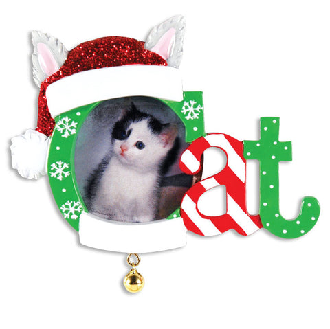 PERSONALIZED CHRISTMAS ORNAMENT PICTURE FRAME-CHRISTMAS CAT FRAME